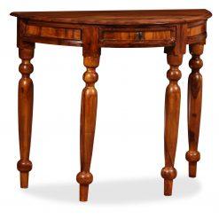 Mesa consola madeira sheesham maciça 90x40x76 cm meio circulo - Mesas de Consola