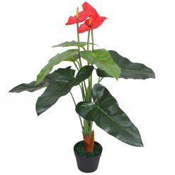 Planta antúrio artificial com vaso 90 cm vermelho e amarelo - Plantas Artificiais