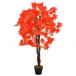 Planta bordo artificial com vaso vermelho 120 cm - Plantas Artificiais