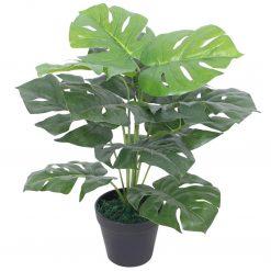 Planta costela-de-adão artificial com vaso 45 cm verde - Plantas Artificiais