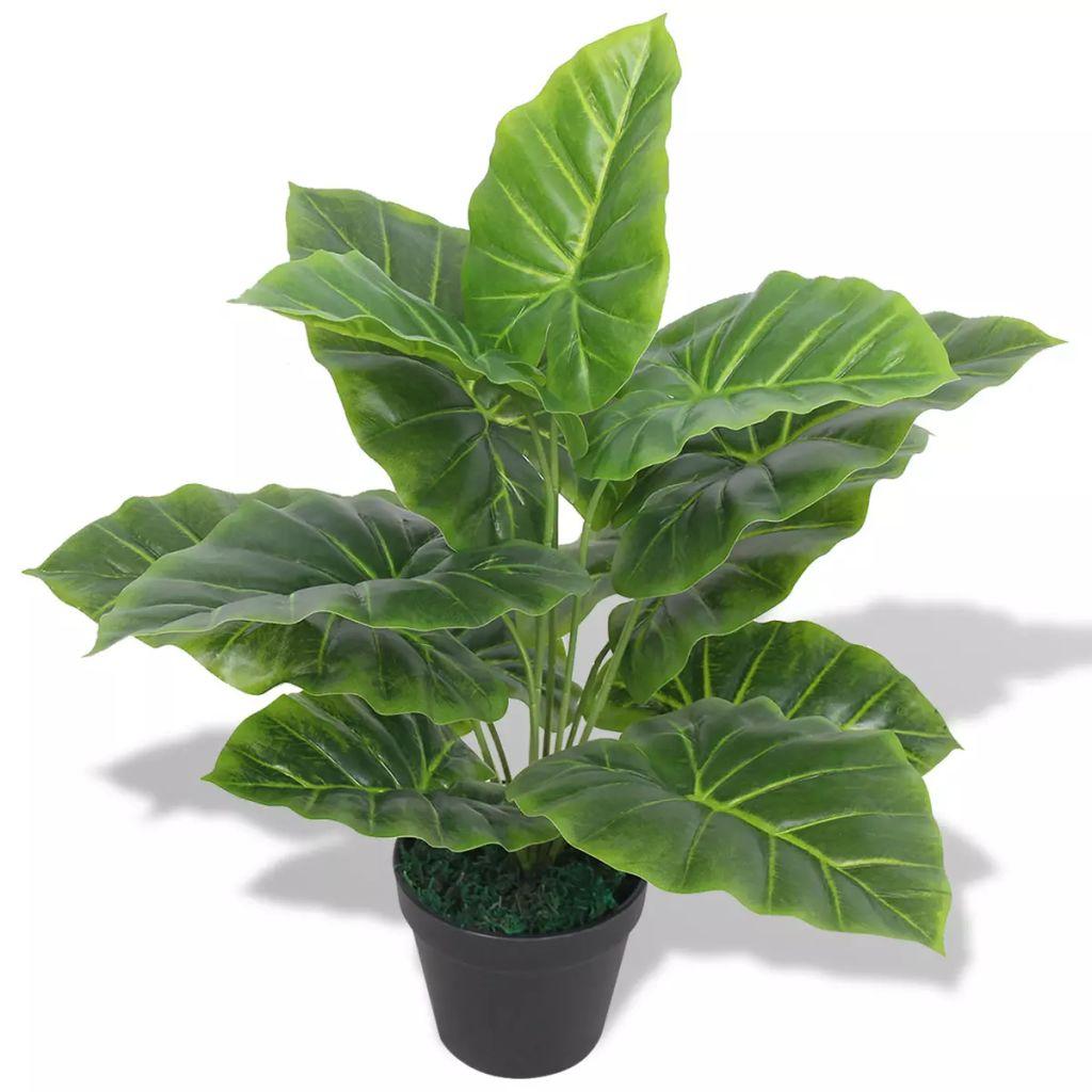 Planta taro artificial com vaso 45 cm verde - Plantas Artificiais