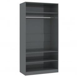 Roupeiro 100x50x200 cm contraplacado cinzento brilhante - Roupeiros