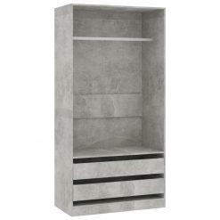 Roupeiro 100x50x200 cm contraplacado cinzento cimento - Roupeiros