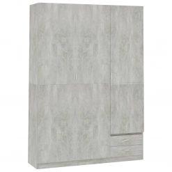 Roupeiro 3 portas 120x50x180 cm contraplacado cinzento cimento - Roupeiros
