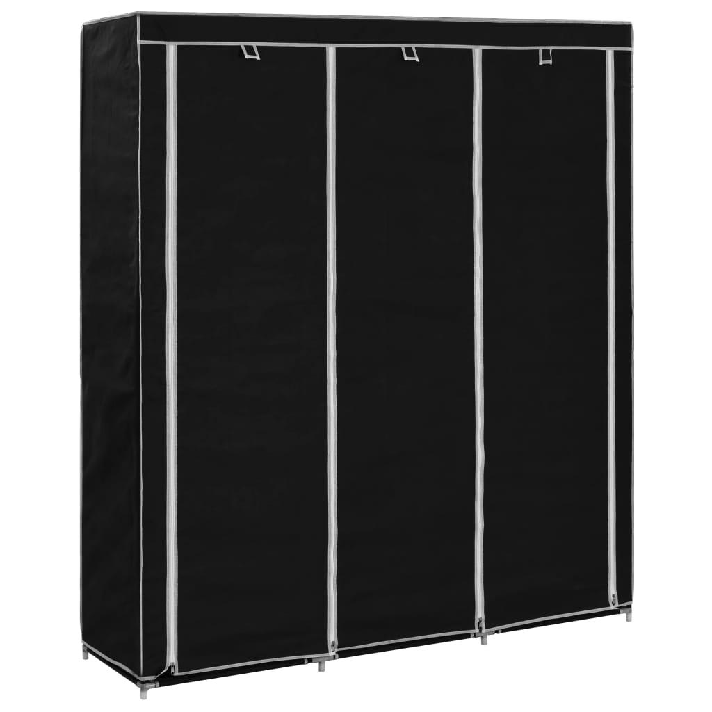 Roupeiro c/ compartimentos e varões 150x45x175 cm tecido preto - Roupeiros