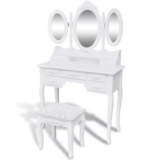 Toucador com banco e 3 espelhos branco - Toucadores