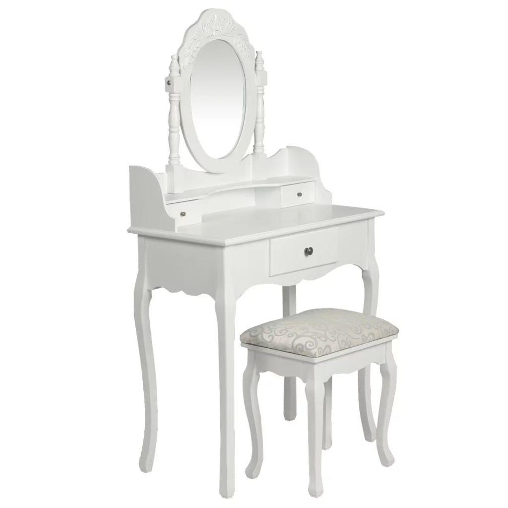 Toucador com espelho e banco branco - Toucadores