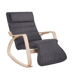 Cadeira de Balanço em Madeira Maciça Cinza