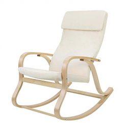 Cadeira de Balanço em Madeira e Almofada em Algodão Branca