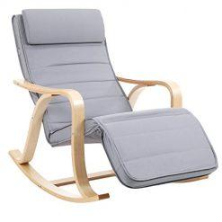 Cadeira de Balanço em Madeira e Almofada em Algodão Cinza