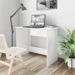 Secretária 100x50x76 cm contraplacado branco brilhante