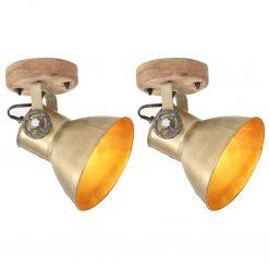 2 pcs candeeiros parede/teto industriais 20x25 cm E27 bronze