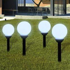Bolas solares com pico-de-chão / 4 peças