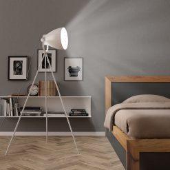 Candeeiro de chão com tripé E27 metal branco