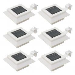Candeeiro de exterior solar LED 6 pcs branco quadrado 12 cm